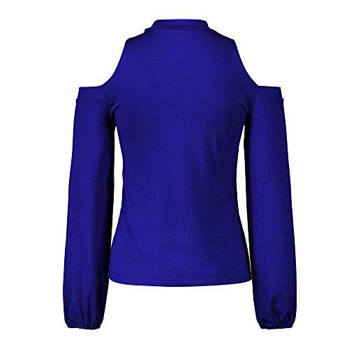Spalla Camicetta Pullover Cappuccio con Donne Piebo con Felpa Blu a per Camicia Donna per Maniche Top Camicia Lunghe Scollata di a UPznPgq1