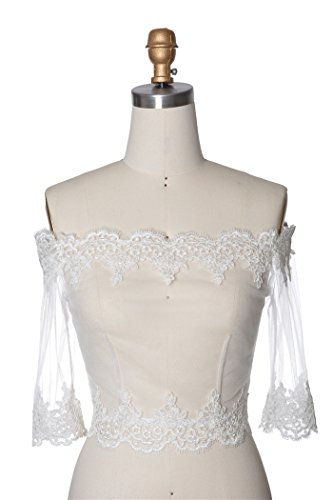 Bridal Shrug (Wishprom Off Shoulder Lace Jacket Bolero Wedding Jacket (XL / (14-16)))