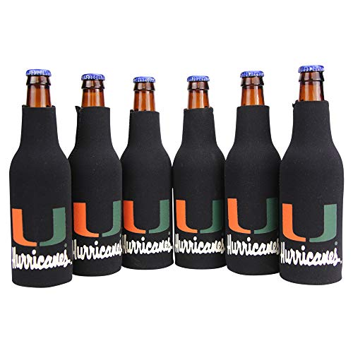 NCAA Collegiate 6 Pack Bundle Neoprene Bottle Coozies (Miami Hurricans (Solid))
