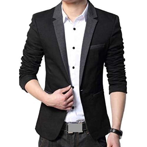 41qsVYaz6KL. SS500  - Menjestic Men's Slim Fit Blazer With Grey Lapel
