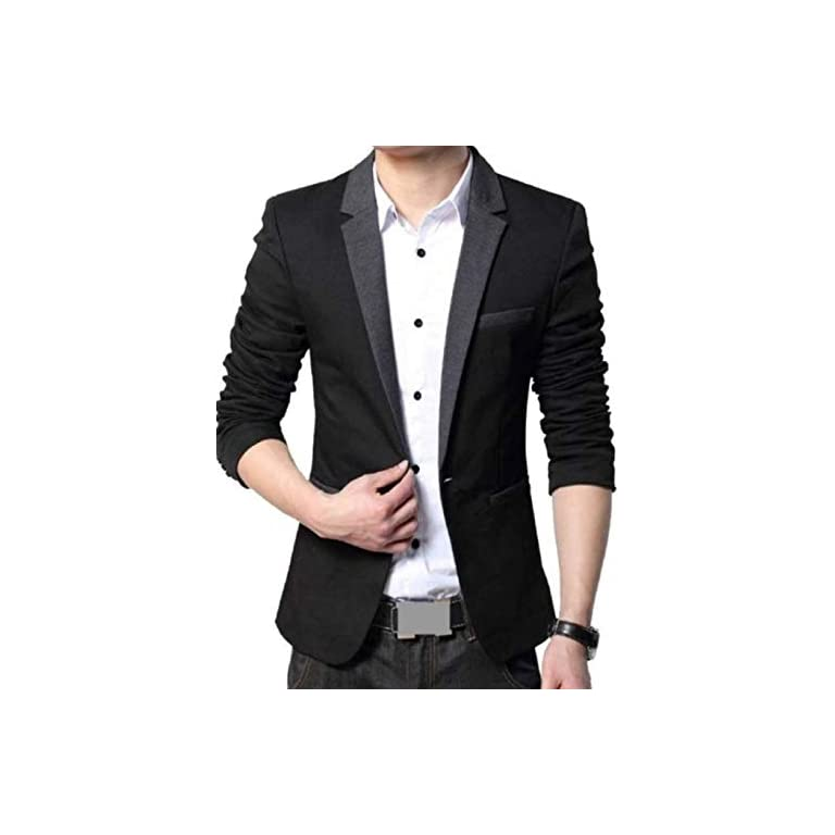 41qsVYaz6KL. SS768  - MENJESTIC Men's Designer Blazer with Grey Lapel Available in Black and Grey /2 Colors