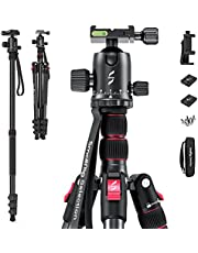 """Lightweight 78"""" Aluminum Camera Tripod Monopod, Foldable DSLR Tripod for Travel, w/ 360 Degree Ball Head Quick Release Plate, Max. Payload 33lb, Adjustable Height from 18.5"""" to 78"""" - 3474"""