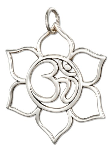 Sterling Silver Open Om or Ohm Symbol in Lotus Flower Charm