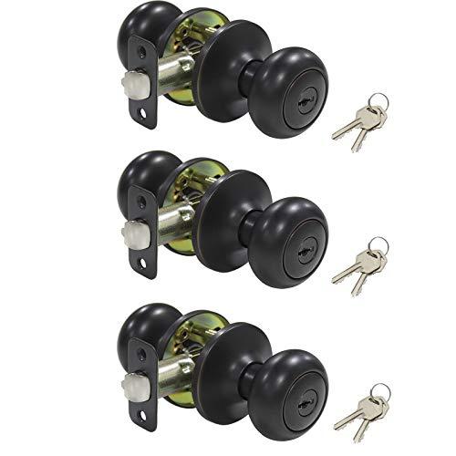 Keyed Entry Knobs Biscuit Style Door Lockset Keyed Alike Commercial Residensial Entrance Lock, 3 Pack