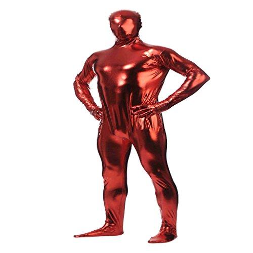 【ノーブランド 品】メタリック キャットスーツ  全身タイツ  開口部なし 光沢のある ボディスーツ スパンデックス製 全5サイズ10色 - L  赤