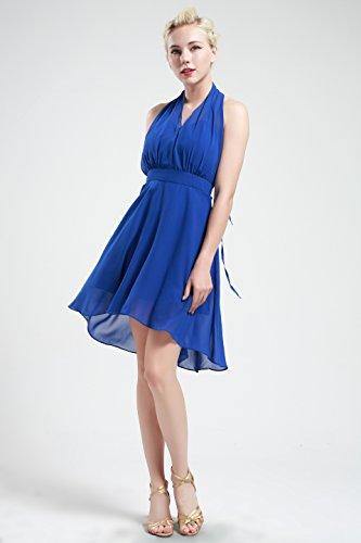 Babeyond 50s 60s del vestido de las mujeres cóctel Swing Party Summer causal de dama de honor vestido sin mangas de cabestro Prom (Label XL / UK18 / EU46, Azul)
