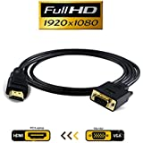 VAlinks HDMI to VGA Adapter,1080P Active HDMI Male to VGA Male Video Converter Support Convert Signal from HDMI Input Laptop HDTV to VGA Output Monitors Projector-1.8m/6ft