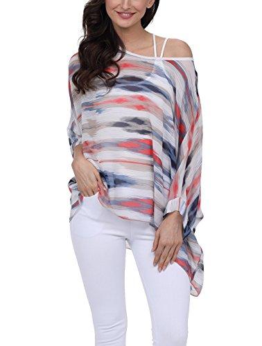 iNewbetter Womens Floral Dress Batwing Sleeve Chiffon Beach Loose Blouse Tunic Tops PB282