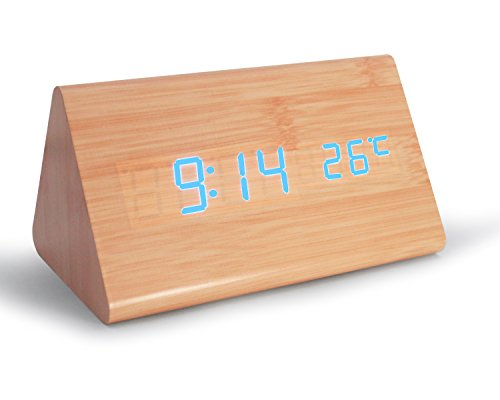 Digital Alarm Clock,Adjustable Brightness Wooden Alarm Clock Voice Control Desk Clock Large Display Time Temperature USB/Battery Powered For Home,3 Levels Adjustable Brightness Office, Kids