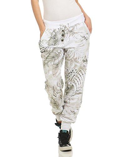 Relax De Zarmexx Joggeur Le Pantalon Sweatpants Forme Les Dames Sweathose print Laine Blanc Freizeithose D'arbre En Jogginghose Jungle fn4476Bq