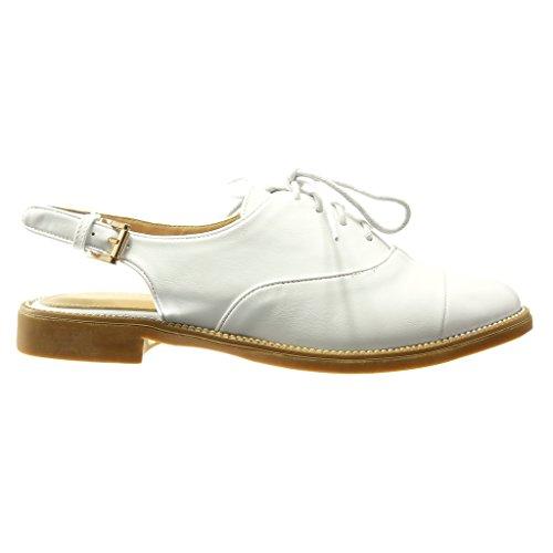 Angkorly - Chaussure Mode Richelieu Sandale ouverte femme boucle finition surpiqûres coutures Talon bloc 2 CM - Blanc