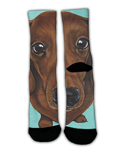 Casual Moisture Wicking Crew Socks for Boys, Dachshund Dog Mint Green Non-Slid High Ankle Work Crew Sock