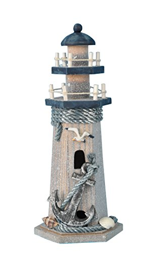 "YK Decor Wooden Lighthouse 10"" High Nautical Themed Rooms Lighthouse Home Decor (Seabird & Anchor)"