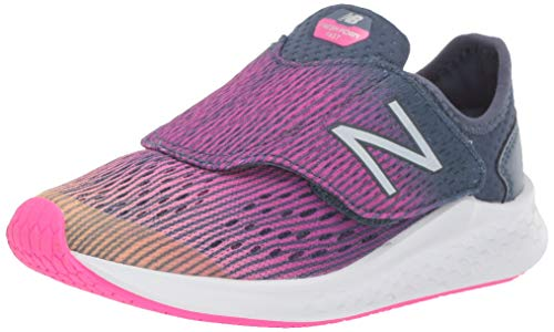 New Balance Girls' Hook and Loop Fresh Foam Fast Running Shoe Light Mango with Peony & Vintage Indigo 10.5 W US Little Kid (Best Shoes For Gym Classes)