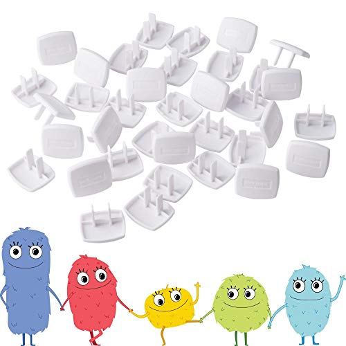 41qsWzXTOnL Toddleroo by North States Plug Protectors   Fits Two and Three pronged outlets for Quick Coverage in Seconds   Baby proofing with Confidence (36-Pack, Soft White)    Now that your crawler is on the move, it's time for childproofing with the Toddleroo by North States Plug Protectors. The 36-pack made of strong and durable PVC helps protect your child from electrical hazards. The last thing you want is fingers and other items poked into an unused outlet. Fits all two- and three-pronged outlets for a simple solution to your tot's curiosity. For quick coverage in just seconds for multiple rooms in your home, the Plug Protectors require no tools to install. Just push into any outlet; that's it. They are also easy to remove and reusable, so if you have a future move planned, simply take them with you. The soft white color blends with standard outlets and stylishly goes with any home decor.