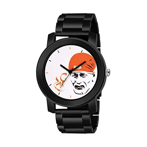 Swadesi Stuff Analogue White Dial Sai Baba Metal Strap Watch for Men and Boy