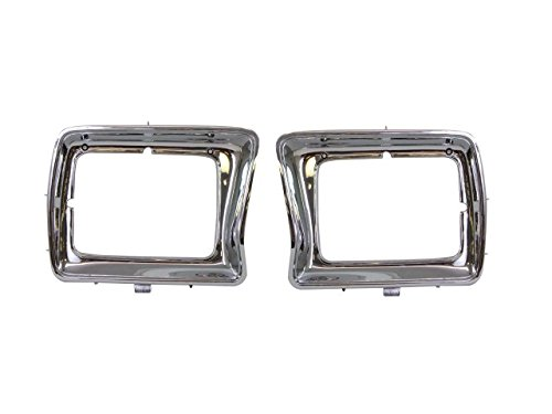 Bundle For 78-79 Ford Pickup Bronco Rectangular Headlight Door Chrome Lh & Rh