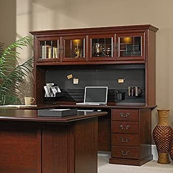 Amazon Com Realspace Broadstreet Hutch With Doors Maple Kitchen Amp Dining