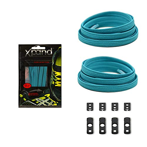 (Xpand No Tie Shoelaces System with Elastic Laces - Teal - One Size Fits All Adult and Kids Shoes)