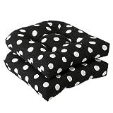Pillow Perfect Almohada Ideal en Interiores/al Aire última intervensión Cojines de Asiento de Mimbre, 2-Pack, Negro/Blanco, 1