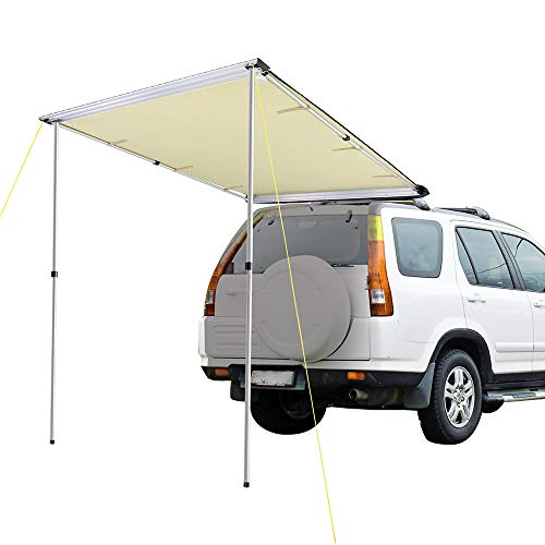 Car with a telescoping tent.