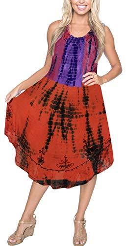 (LA LEELA Rayon Tie Dye Aloha Beach Women Top Floral  Orange 2143 Plus)