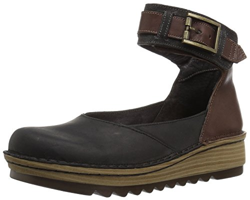 NAOT Women's Sycamore Mary Jane Flat, Coal Nubuck/Toffee Brown Leather/Oily Midnight Suede, 38 Medium EU (7 US)