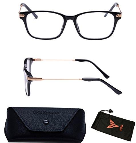 (#9566_2.0) Nearsighted Myopia Lens Square Shape 80's Men Womens Glasses Eyewear + Case (Strength: - Lenses Discount Glasses