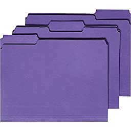 Staples Colored File Folders, Letter, 3 Tab, Purple, 100/Box