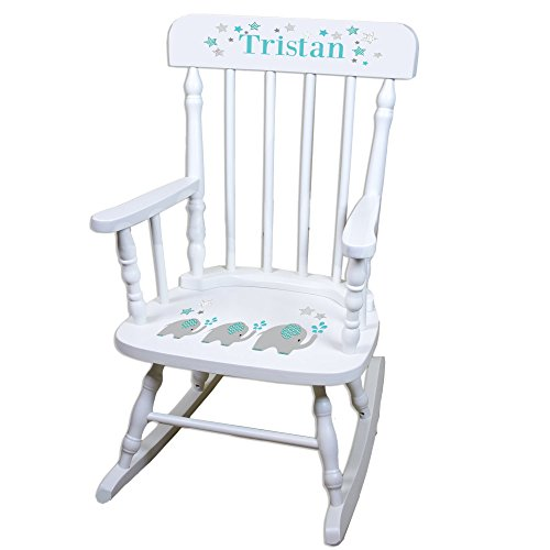 Personalized Grey and Teal Elephant White Childrens Rocking - Painted Jungle Hand Chair Childrens