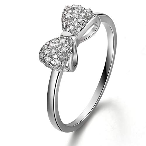 Carleen 925 Sterling Silver AAA CZ Cubic Zirconia Bow Tie Ring for Women Girls]()