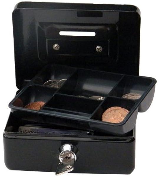 Cathedral - Caja metálica para dinero (cerradura, 2 llaves), Negro, 4