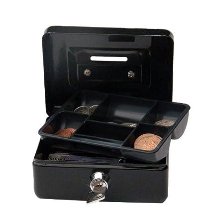 Cathedral - Cassetta per contanti, 10 cm, serratura a cilindro con 2 chiavi, colore nero CBBK4
