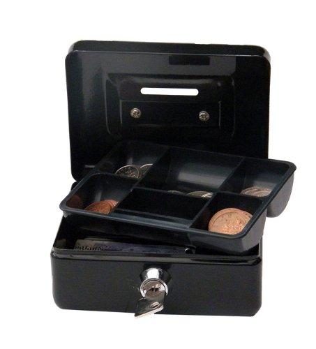 Cathedral - Caja metálica para dinero (cerradura, 2 llaves, 10 cm), color negro: Amazon.es: Oficina y papelería