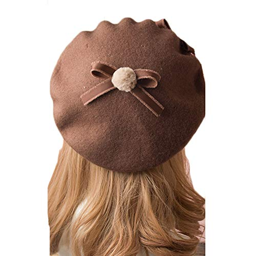 BLESSI Fashion Wool Pom Pom Bowknot Cute Beret Hats Pink Elegant Warm Soft Chic Lolita Cap with Bow for Girls (Coffee + White)