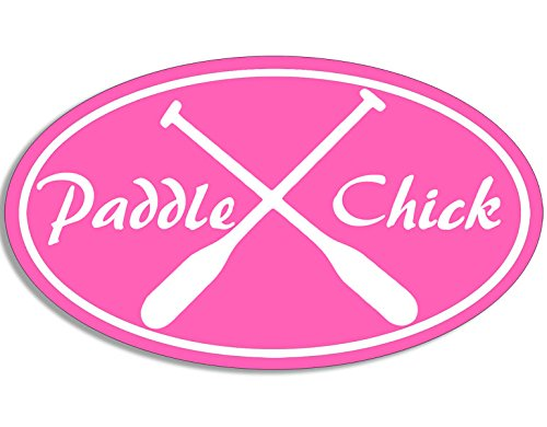 American Vinyl Pink Oval Paddle Chick Sticker (sup Kayak Girl Woman Female)