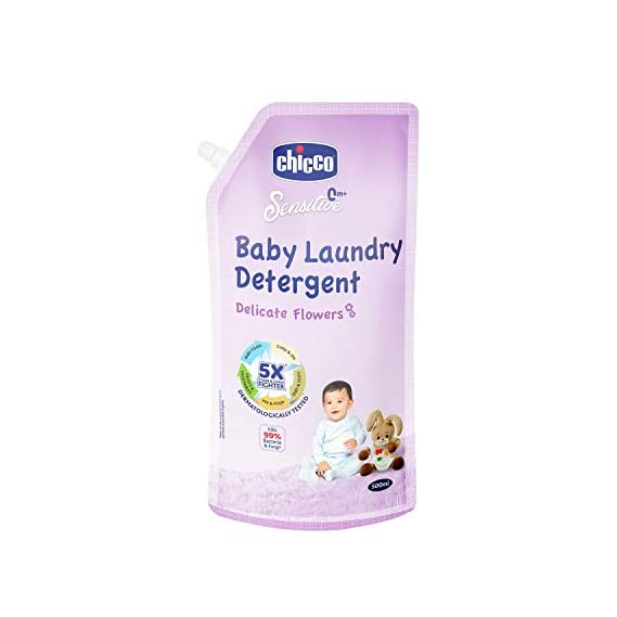 Chicco Baby Laundry Detergent, Delicate Flowers, 5X Stain & Germ Fighter, Kills 99% of Germs, Gentle on Clothes & Skin