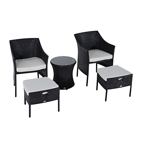Outsunny Outdoor Patio Rattan Wicker Leisure Chair Set W