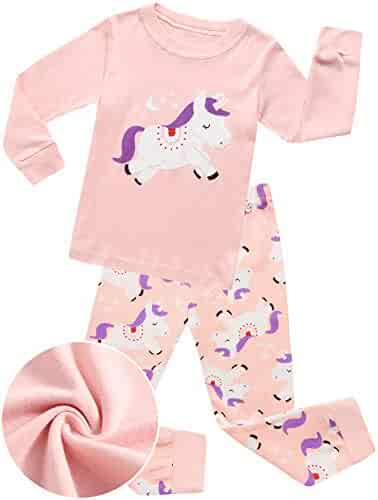 40b0d3ea02 Girls Pajamas Pink Sleepwear Clothes 100% Cotton PJS for Toddlers Children  Kids Unicorn Pattern