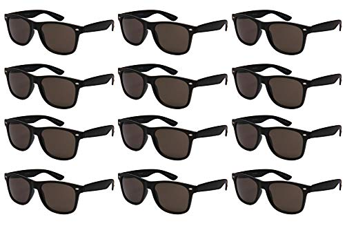 (Edge I-Wear 12-Pack Vintage Men Women Plastic Horned Rim Sunglasses Tinted Lens N5401ASBLK-SD-2(M.BLK))