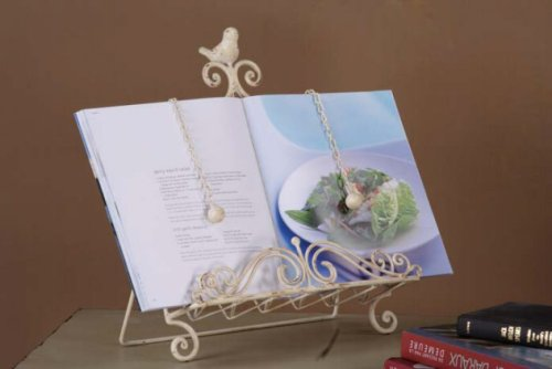 Metal Book Holder with Scrolls and Bird for Farmhouse Kitchen Decor