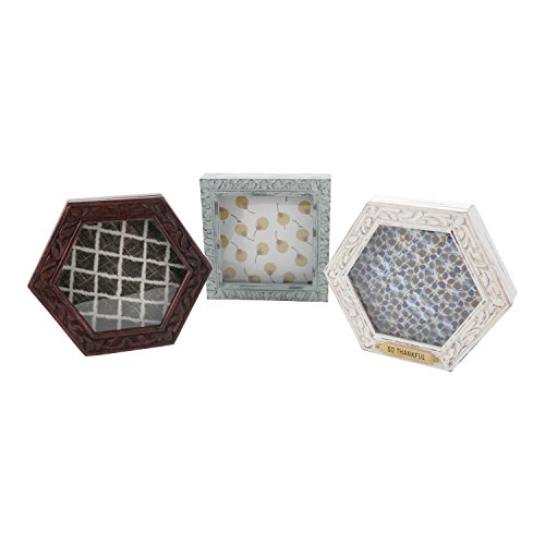"""Hallmark Home Unique Shadow Box with Glass Front and Magnetic Closure, Cream Hexagon with """"So Thankful"""" Metal Plate"""
