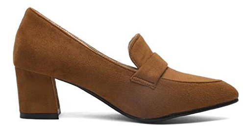 Easemax Womens Graceful Pointed Toe Mid Block Heels Pumps Brown c7QIQ