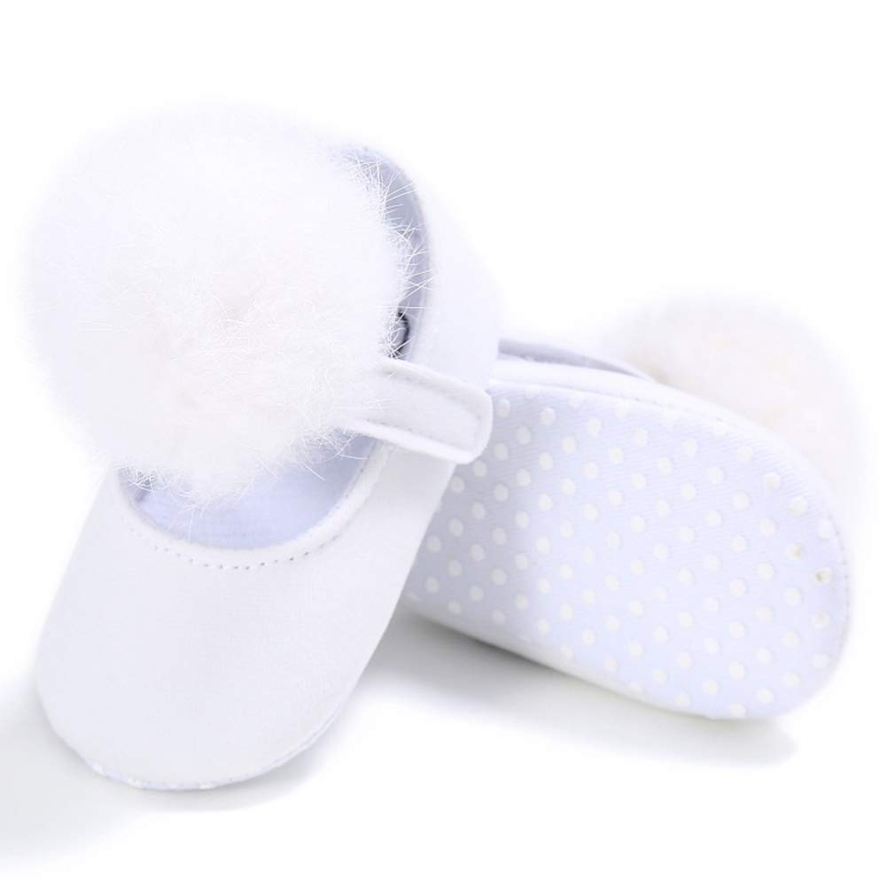 Berthodo Lovely Cotton Material Wool Ball Decoration Non-Slip Baby Girls Shoes Shallow Mouth Toddler Prewalker for Girls 0-18M
