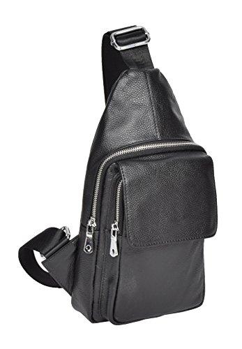 Damen Mädchen echt schwarz Leder Rucksack kleine Rucksack Schulter Brust Tasche - A347