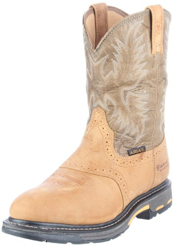 [Ariat Men's Workhog Pull-on H2O Work Boot, Aged Bark/Army Green, 12 M US] (Aged Bark Boot)