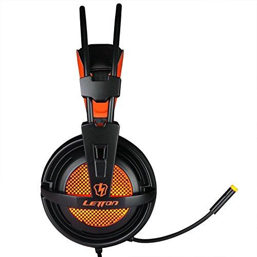 [해외]LETTON G7 3.5mm 잭 경량 스테레오 게임용 헤드셋 헤드폰, 프로 PC 게이머 용 마이크 LED 라이트 및 볼륨 컨트롤 음소거 Botton (오렌지색)/LETTON G7 3.5mm Jack Lightweigh