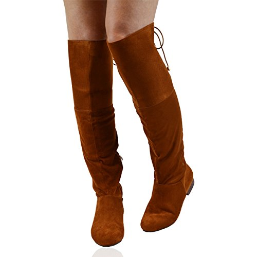 Essex Glam Damen Over-Knee Stiefel TAN FAUX SUEDE