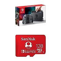 Nintendo Switch - Gray Joy-Con with SanDisk 128GB MicroSDXC UHS-I Card