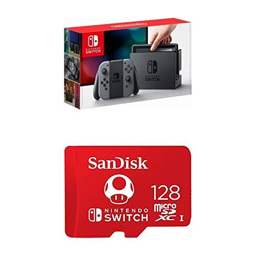 Nintendo Switch - Gray Joy-Con with SanDisk 128GB MicroSDXC UHS-I Card from Nintendo